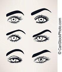 abertos, olhos, silueta, shapes., diferente, femininas