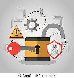 abertos, padlock, segurança, tecla, software, proteção
