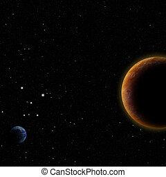 abertos, planetas, espaço