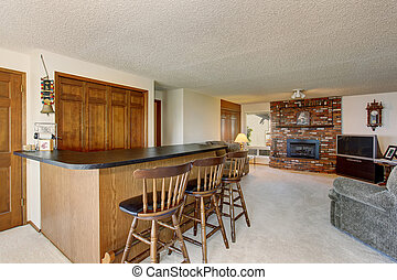 abertos, plano chão, em, luxo, home., sala de estar, com, tijolo, lareira, e, jantando área