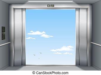 abertos, portas elevador