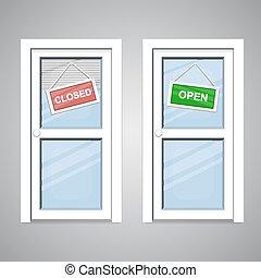 abertos, portas, fechado