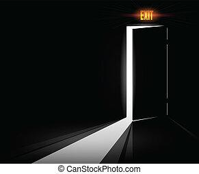 abertos, saída, porta