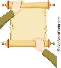 abertos, scroll, ilustração, mãos
