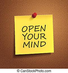 abertos, seu, mente, palavras, ligado, correspondência-isto