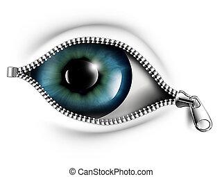 abertos, seu, olhos