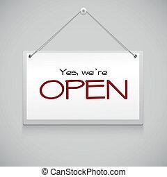 abertos, sinal dependurado