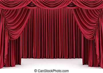 abertos, vermelho, teatro, cortina