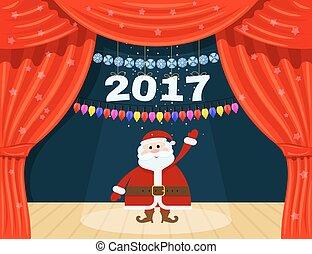 abertos, vermelho, teatro, cortina, com, estrelas, snowflakes, guirlanda, e, santa, claus., papai noel, em, a