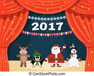 abertos, vermelho, teatro, cortina, com, estrelas, snowflakes, guirlanda, e, santa, claus., papai noel, e