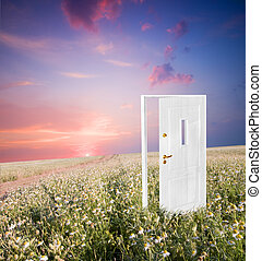 abertos, vida, porta, novo