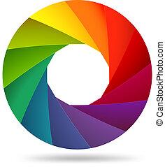 abertura, colorido, obturador