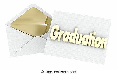 abertura, envelope, ilustração, graduação, convite, partido, evento, 3d