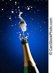 abertura, garrafa champanha