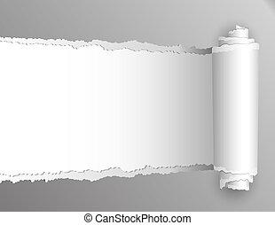 abertura, mostrando, rasgado, experiência., papel, branca