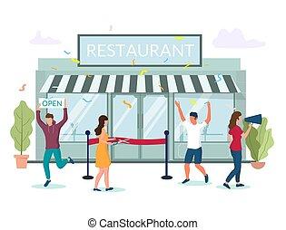 abertura principal, teia, conceito, site web, bandeira, restaurante, vetorial, página