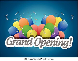 abertura, sinal, grandioso, balões, ou, cartão