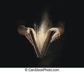 abertura, um, antigas, book.