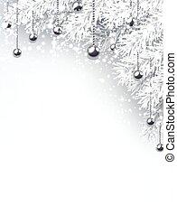 abete, branches., inverno, fondo