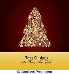 abete, marrone, fatto, fiocchi neve, oro, albero, illustrazione, fondo, vettore, saluti, scheda natale