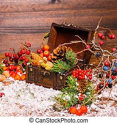 abete, natale, vita, pieno, aperto, mela, albero, torace, bacche, noci, neve, closeup, ancora, coni, inverno