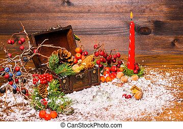 abete, natale, vita, pieno, aperto, mela, albero, torace, bacche, noci, neve, closeup, candela, ancora, coni, inverno