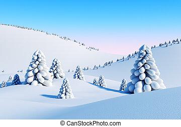 abete, paesaggio, alberi inverno