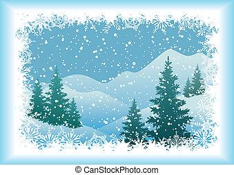 abete, paesaggio montagna, alberi inverno