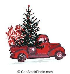 abete, palle, card., festivo, albero, isolato, camion, 2018, fondo, anno, nuovo, decorato, bianco rosso