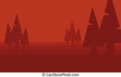 abete rosso, vettore, silhouette, collina, collezione