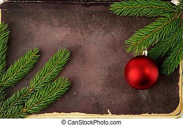abete, vecchio albero, carta, decorazioni, natale
