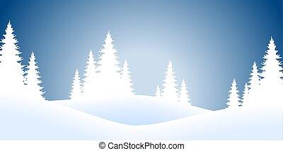 abeti, paesaggio, natale, fondo, neve