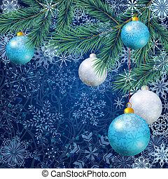 abeto, árbol spruce, ornamentos de navidad
