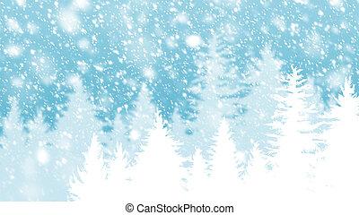 abeto, árvore inverno, neve, desenho, fundo, queda, natal