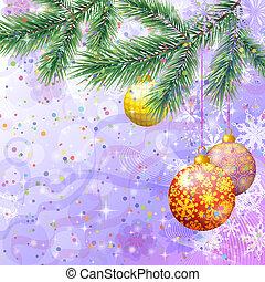 abeto, árvore spruce, ornamentos natal