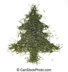 abeto, aguja, árbol, navidad