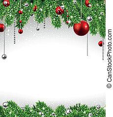 abeto, balls., ramas, navidad, plano de fondo