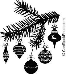 abeto, baubles natal, ramo, penduradas