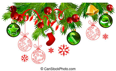 abeto, bolas, ramos, ouro, quadro, verde, natal