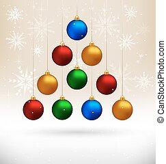 abeto, bolas, semelhante, árvore, bege, penduradas, natal