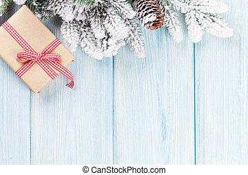 abeto, caixa, presente, árvore, fundo, natal