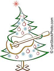 abeto, con, guitarra, pictogram