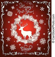 abeto, corte, venado, vendimia, copos de nieve, guirnalda, saludo, tarjeta de papel, año, floral, nuevo, blanco, frontera, rojo, afuera