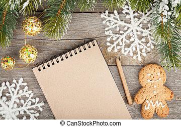 abeto, decoração, madeira, árvore, notepad, neve, tábua, fundo, em branco, coberto, natal