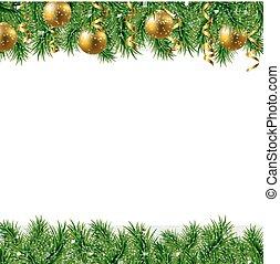 abeto, dourado, quadro, árvore