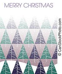 abeto, feliz, árvores, blizzard, natal