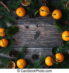abeto, feriado, ramos, inverno, espaço, cones., quadro, anis, pinho, mandarins, canela, fundo, estrela, cópia, natal