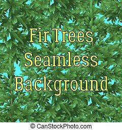 abeto, fundo, seamless, árvores
