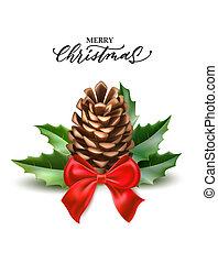 abeto, hojas, realista, vector, alegre, acebo, navidad