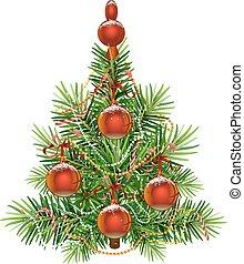 abeto, isolado, árvore., verde, decorado, natal